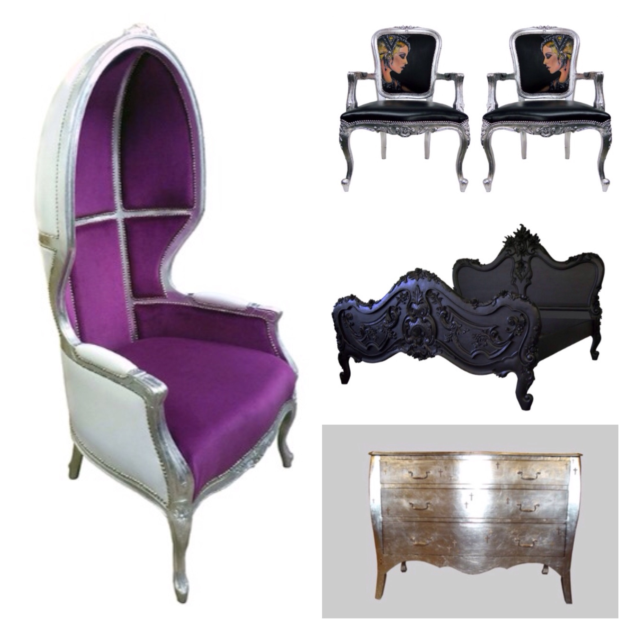 Customized chairs table and bed by Jimmie Martin. Home decorations