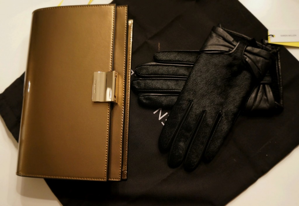Cold weather fashion Leather and Fur black gloves Golden Clutch from Karen Millen