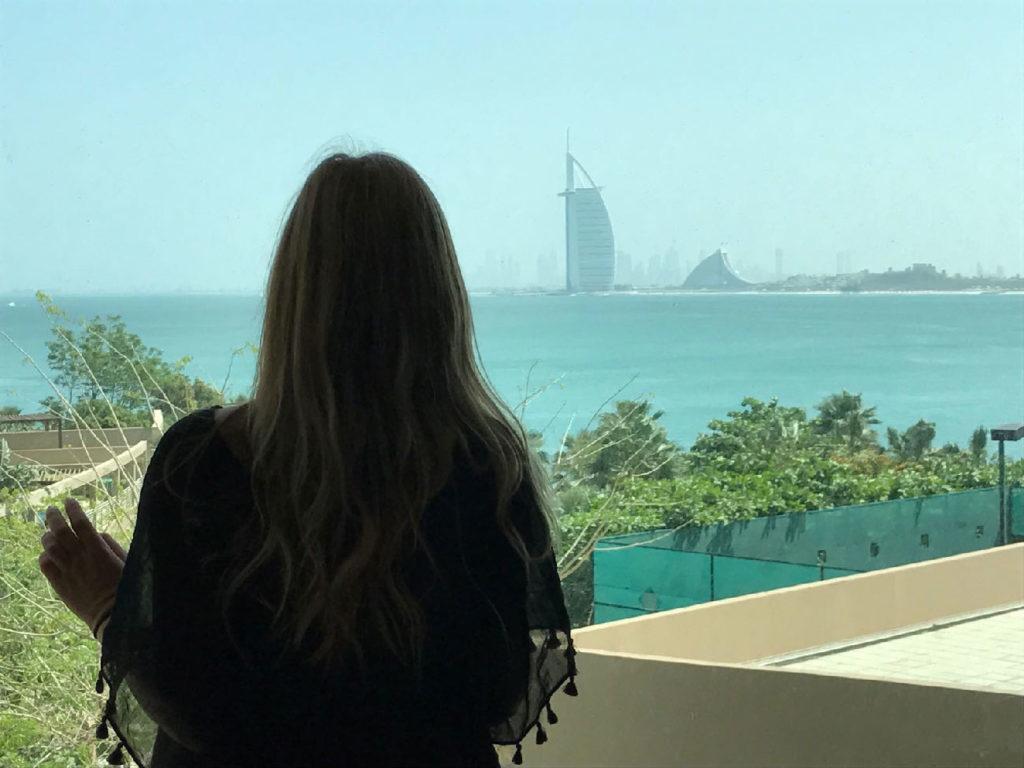 Burj al arab view from Rixos hotel in Dubai the palm